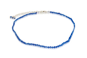 KenSuJewelry Anklet with Sterling Silver adjust chain lock and Blue Chalcedony Round Beads