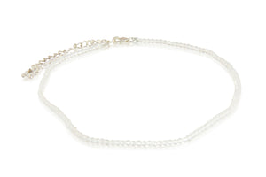 KenSuJewelry Anklet with Sterling Silver adjust chain lock and Crystal Quartz Round Beads