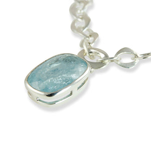 Aquamarine Chain Pendant Necklace Close Up