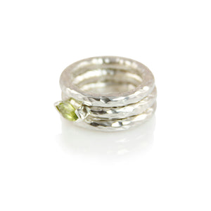 KenSuJewelry Band Triple Stuck Hammered Rings with Peridot Front
