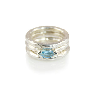 KenSuJewelry Band Triple Stuck Hammered Rings with Blue Topaz