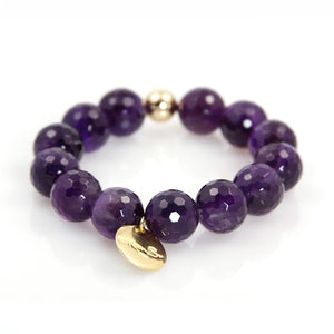 KenSu Jewelry Amethyst Bead Bracelet Hand Made Jewelry