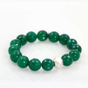 KenSu Jewelry Green Agate Bead Bracelet Hand Made Jewelry