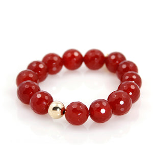 KenSu Jewelry Red Agate Bead Bracelet Hand Made Jewelry