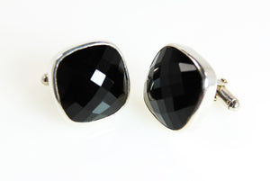 KenSu Jewelry Black Onyx Silver Cuff Links Hand Made Jewelry