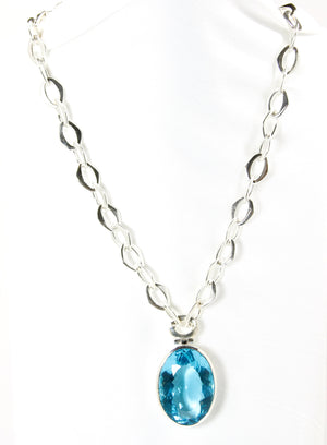 Blue Topaz Hydro Oval Pendant & Silver Chain - Bold Collection