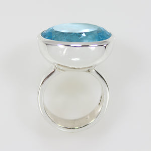 Blue Topaz Large Oval Bowl Ring - Bold Collection