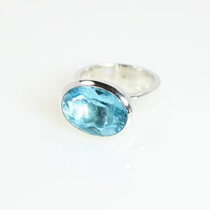 Ring - Bowl Swiss Blue Topaz Oval Cut Stone Sterling Silver