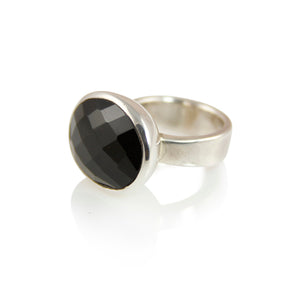 KenSuJewelry Bowl Ring Oval Horizontal Black Onyx