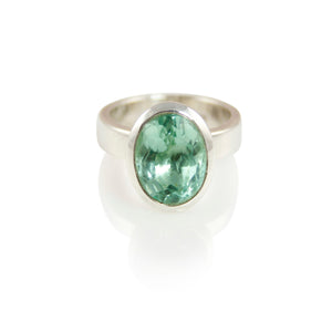 KenSuJewelry Bowl Ring Oval Horizontal Green Fluorite
