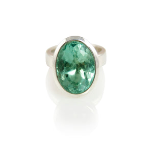 KenSuJewelry Bowl Ring Oval Vertical Green Fluorite