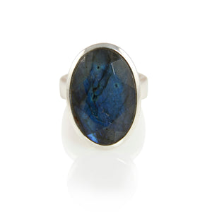 KenSuJewelry Bowl Ring Oval Vertical Labradorite