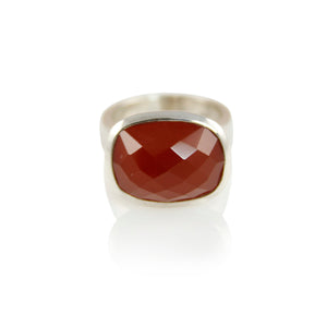 KenSuJewelry Bowl Ring Rectangular Horizontal Carnellian