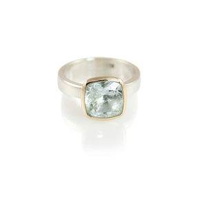 KenSuJewelry Bowl Ring with 14kt. Gold Border Aquamarine Square AAA