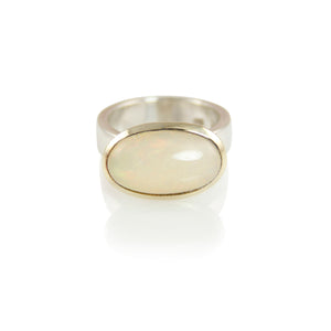 KenSuJewelry Bowl Ring with 14kt. Gold Border Fire Oval Horizontal Opal