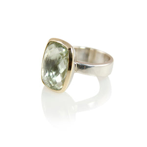 KenSuJewelry Bowl Ring with 14kt. Gold Border Green Amethyst Rectangular Vertical