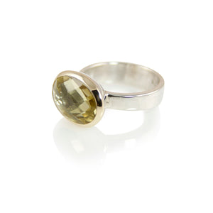 KenSuJewelry Bowl Ring with 14kt. Gold Border Lemon Quartz Oval
