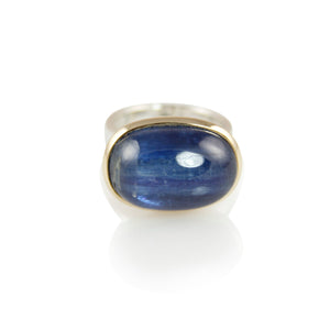 KenSuJewelry Bowl Ring with 14kt. Gold Border and Kyanite Oval