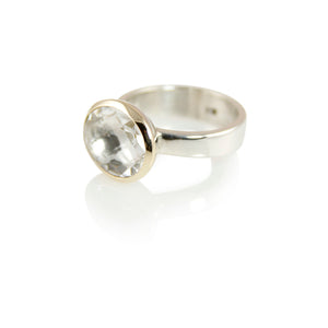 KenSujewelry Bowl Ring with 14kt. Gold Border with Oval Horizontal White Aquamarine