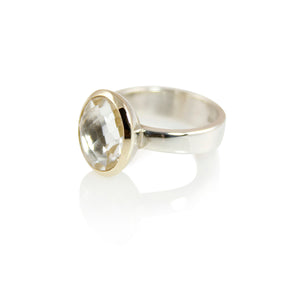 KenSuJewelry Bowl Ring with 14kt. Gold Border with Oval Vertical Crystal