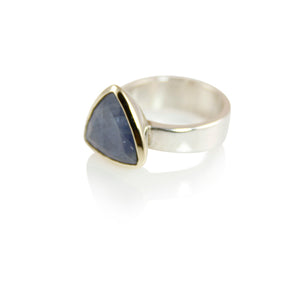 KenSuJewelry Bowl Ring with 14kt. Gold Border with Triangle Blue Raw Sapphire
