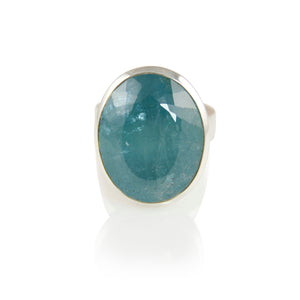 KenSuJewelry Bowl Ring with Aquamarine Vertical