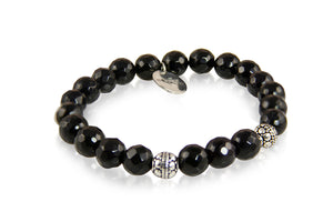 KenSuJewelry Bracelet Black Onyx Beads with Silver Spacers