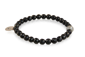 KenSuJewelry Bracelet Black Onyx Small Beads, Labradorite and with Silver GP Spacers