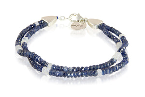 KenSuJewelry Bracelet Blue Sapphire with Rainbow Moonstone