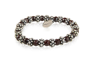 KenSuJewelry Bracelet Garnet Stone Beads with Silver Spacers