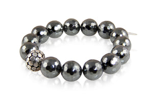 KenSuJewelry Bracelet Hematite and with Silver Spacers