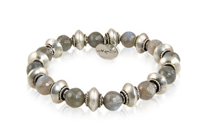 KenSuJewelry Bracelet Labradorite Stone Beads with Silver Spacers