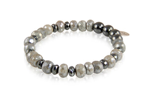 KenSuJewelry Bracelet Labradorite, Hematite and with Silver Spacers