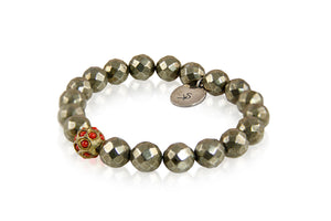 KenSuJewelry Bracelet Pyrite Stone Bead and Jai Spacer
