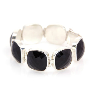 KenSu Jewelry Sterling Silver Bracelet with Black Onyx - Signature Collection Hand Made Jewelry