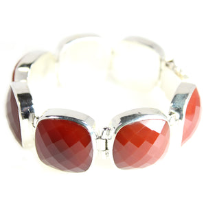 KenSu Jewelry Sterling Silver Bracelet with Red Agate - Signature Collection Hand Made Jewelry