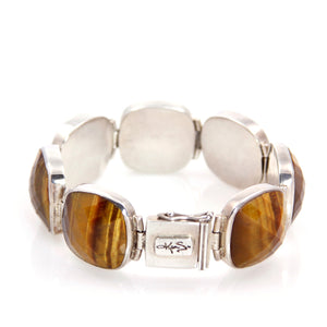 KenSu Jewelry Sterling Sliver Bracelet with Tiger Eye - Signature Collection Hand Made Jewelry