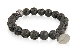 KenSuJewelry Bracelet with Big Black Lava Beads and Silver Spacer