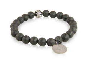 KenSuJewelry Bracelet with Black Lava Beads and Silver Spacer