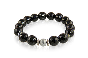 KenSuJewelry Bracelet with Black Onyx Beads, Labradorite and Silver Spacer