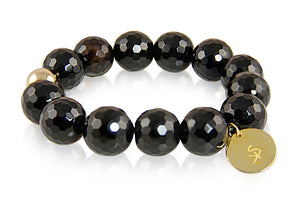 KenSuJewelry Bracelet with Black Onyx Beads and Silver GP Spacer