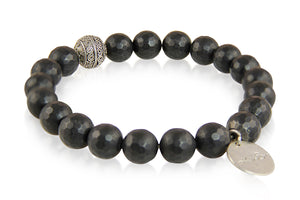 KenSuJewelry Bracelet with Black Onyx Beads and Silver Spacer