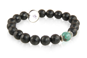 KenSuJewelry Bracelet with Black Onyx, Tibetan Turquoise Beads and Silver Spacer