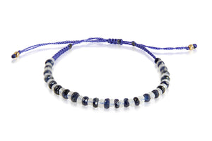 KenSuJewelry Bracelet with Blue Sapphire and Rainbow Moonstone Roundel Beads