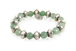 KenSuJewelry Bracelet with Green Aventurine Beads and Silver Spacer