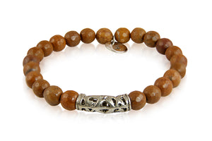 KenSuJewelry Bracelet with Jasper Beads and Silver Tribal Spacer