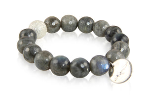 KenSuJewelry Bracelet with Labradorite Beads and Silver Spacer