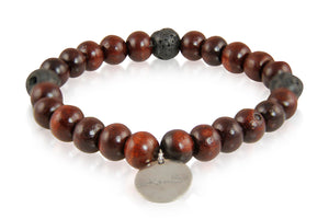 KenSuJewelry Bracelet with Rosewood and Black Lava