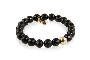 KenSuJewelry Bracelet with Small Black Onyx Beads and Silver GP Spacer