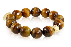 KenSuJewelry Bracelet with Tiger Eye Beads and Silver GP Spacers